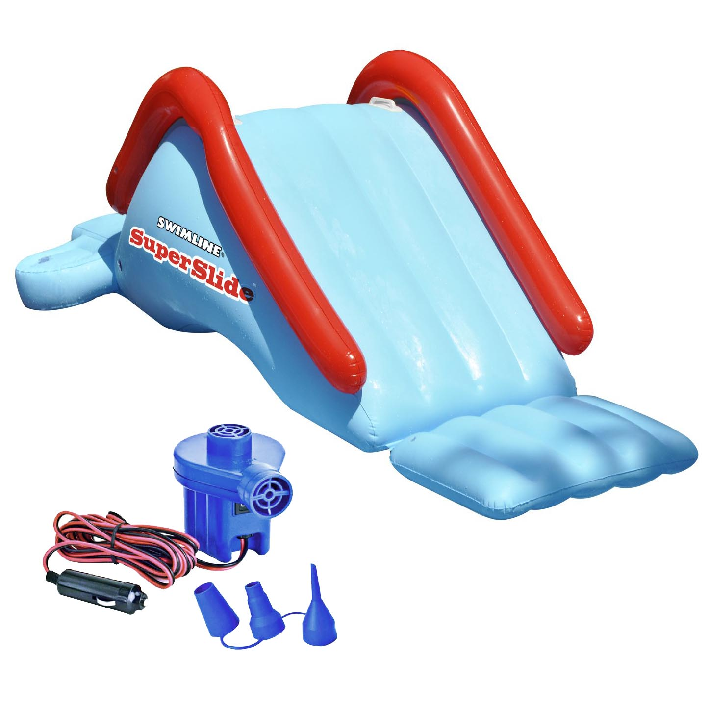 Click here to buy Swimline 90809 Super Waterslide Swimming Pool Inflatable Kids w  12V Air Pump by Swimline.