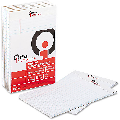 Office Impressions Perforated Ruled Pads, 12pk, White