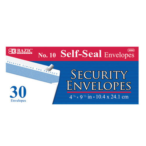 Bazic 30 Self-Seal Security Envelopes (Set of 24)