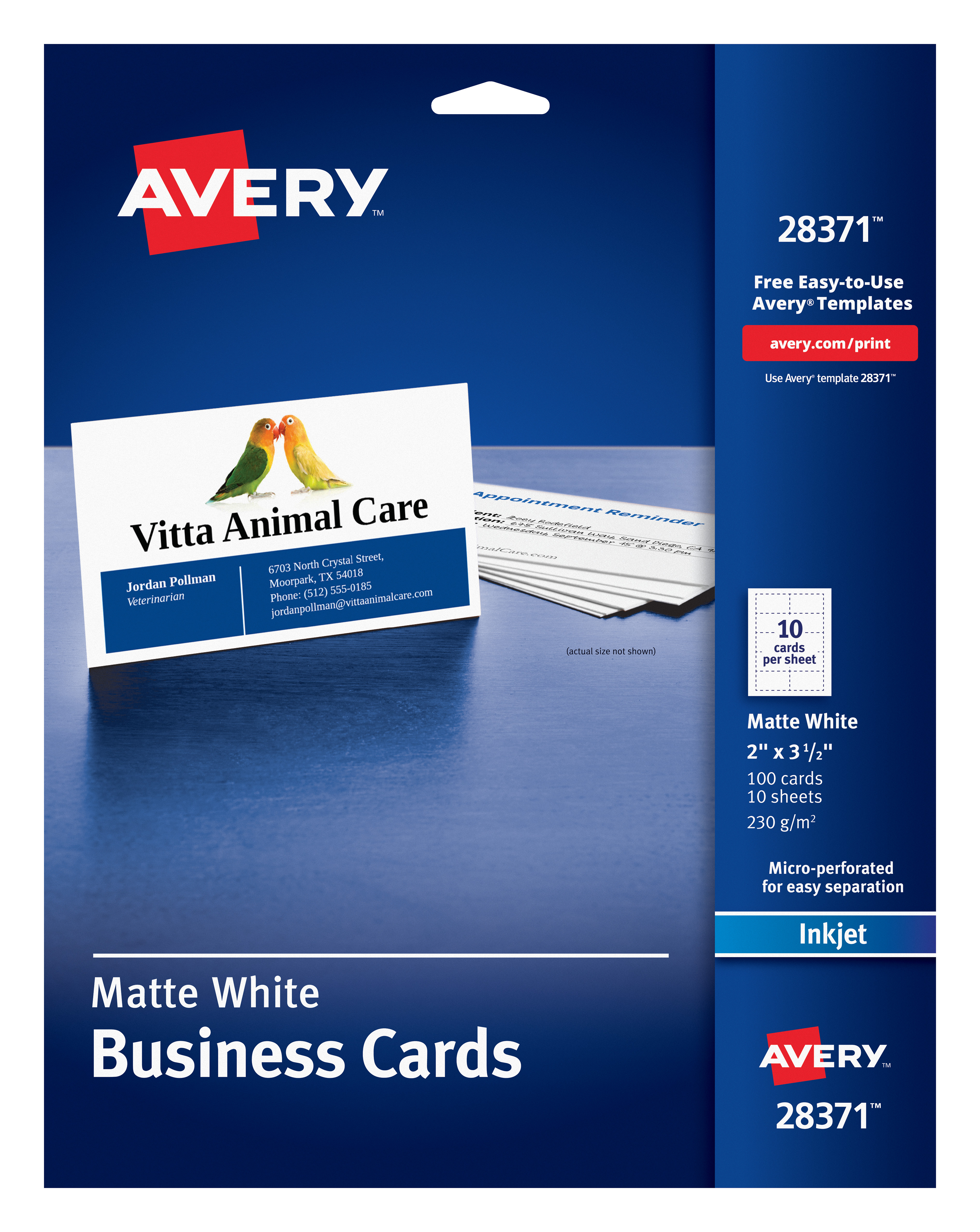 picture relating to Avery Printable Vinyl named Avery Business enterprise Playing cards, Matte, 2-Sided Printing, 100 Playing cards (28371)