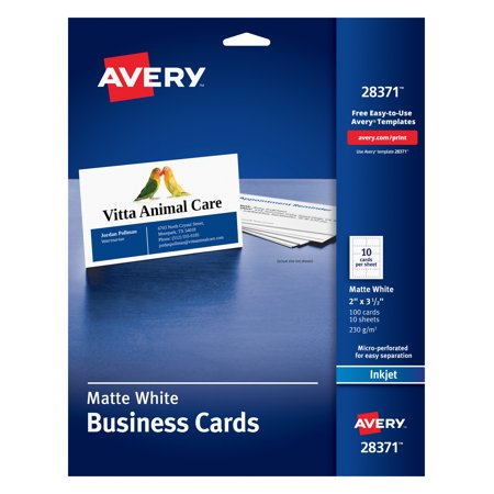 Xerox Business Cards - Avery Business Cards, Matte, Two-Sided Printing, 100 Cards (28371)