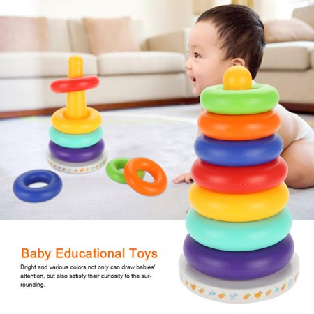 Baby Music Educational Toy Stacking Ring Rainbow Tower Children Kids