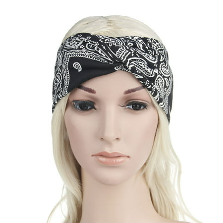 Women Yoga Sport Elastic Floral Hair Band Headband Turban Twisted Knotted