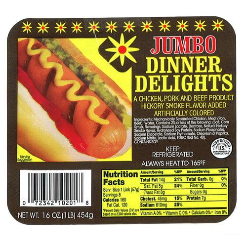 Dinner Delight Jumbo Hot Dogs, 16 oz
