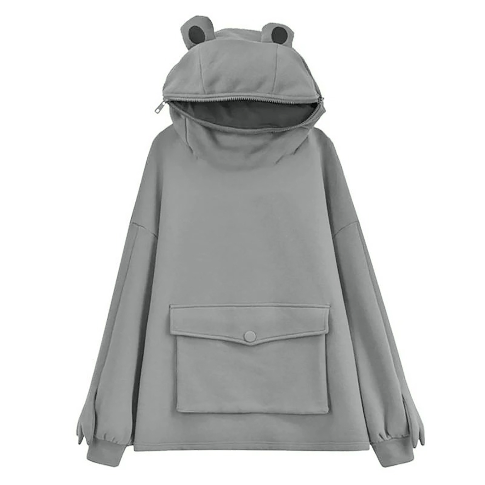 Cute Hoodies for Women Frog Print Sweatshirt Fashion Stitching Pullover Long Sleeve Casual Tops