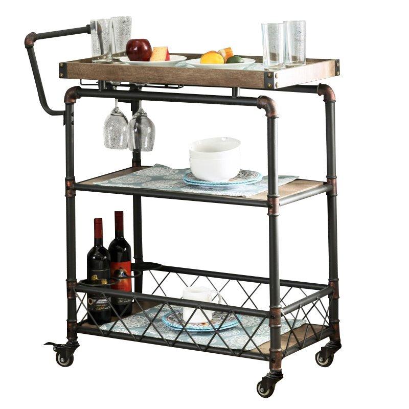Furniture of America Sulema Industrial Bar Cart in Antique Black