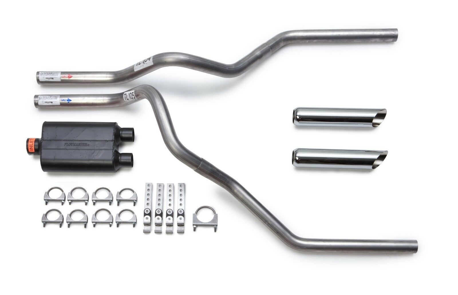 DIY dual exhaust system 2.5 pipe Flowmaster Super 10 RC Tip Truck Exhaust Kits