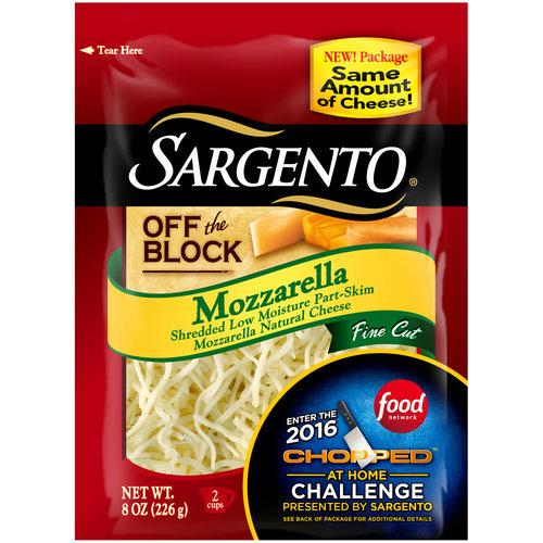Sargento Off the Block Mozzarella Fine Cut Shredded Cheese, 8 oz