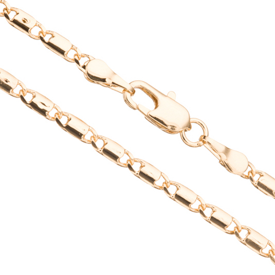 Gold Lock Chain Necklace With Lobster Claw Clasp 20Inch 14K Gold Finished Brass 3mm Chain Width Sold per pkg of 1pcs