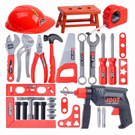 Akoyovwerve 31-Piece Kids Toy Tool Set-Pretend Play Construction Handyman Set for Boys and Girls-Includes Hammer, Screwdrivers, Drill, Bolts and (Play Hamper)