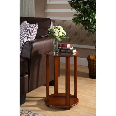 Taima Walnut Wood & Glass Top 16 Inch Round Accent Side End Plant Stand Display Table With Storage Shelf