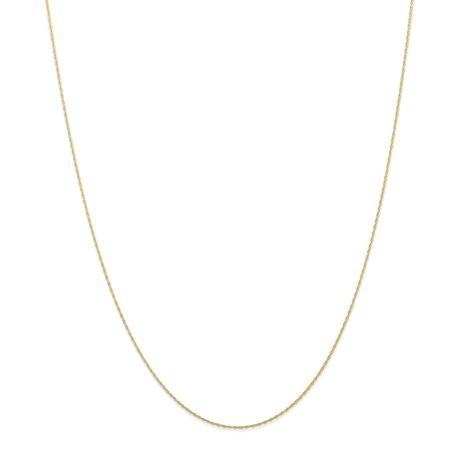 10k Yellow Gold Solid Polished Carded Cable Rope Chain Necklace - 0.5mm - Spring Ring - Length: 16 to 24 Entwined Rings Necklace