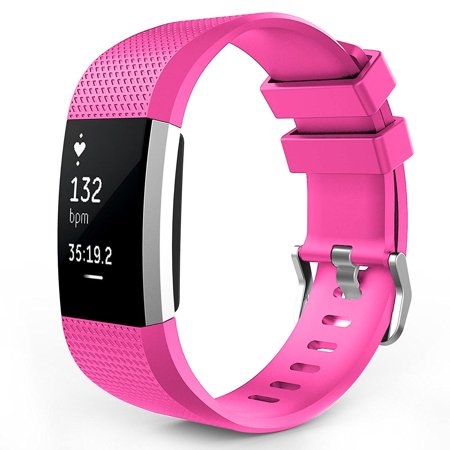Fitbit Charge 2 Watch Bands, Mignova Soft Silicone Replacement Sport Watch Wrist Band Strap for Fitbit Charge 2 Fitness Tracker - Large Size (Hot Pink)
