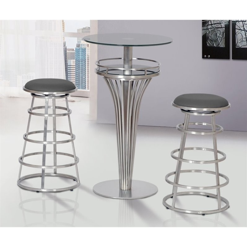 Armen Living Ringo Faux Leather Stainless Steel Bar Stool in Gray - image 2 de 3
