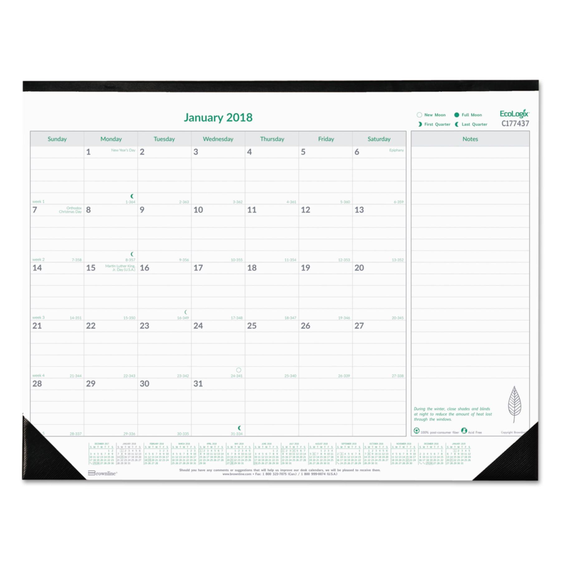 Brownline EcoLogix Monthly Desk Pad Calendar, 22 x 17, 2018