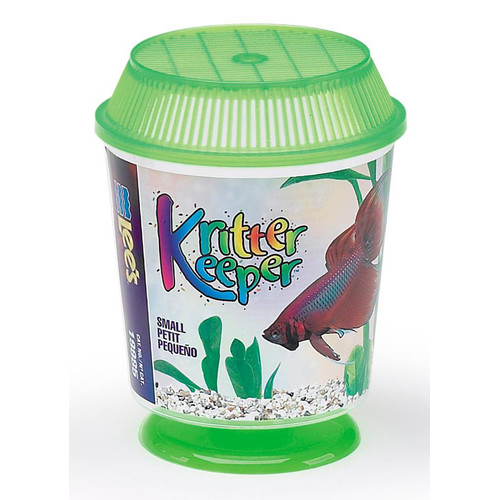 Lee's Kricket Keeper 19985 High Quality Plastic Small Round Aquarium with Lid and Pedestal Stand, 0.66 qt, 4.5 Inch Diameter x 5.625 Inch Height