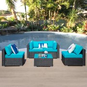 Outdoor Patio 5 Pieces Furniture All Weather Sectional PE Wicker Sofa Rattan Conversation Set with Coffee Table,Black Wicker Blue Cushions