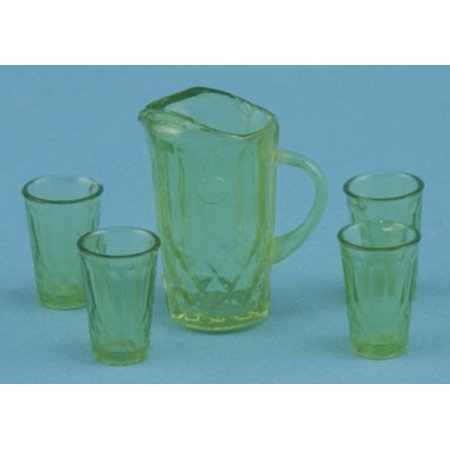 Dollhouse Green Pitcher W/4 Tumblers, Kit
