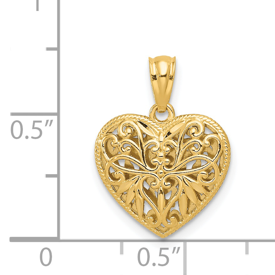 14k Two Tone Yellow Gold Reversible Filigree Heart Pendant Charm Necklace Love Fine Jewelry Gifts For Women For Her - image 1 de 4