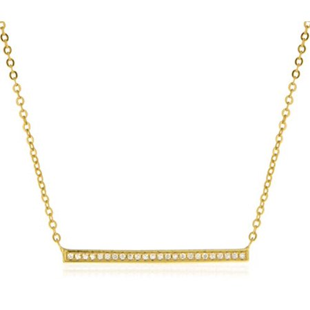 Real 925 Sterling Silver Gold-Tone Bar with Stones Pendant with a Adjustable 15.5 Inch Link Chain -