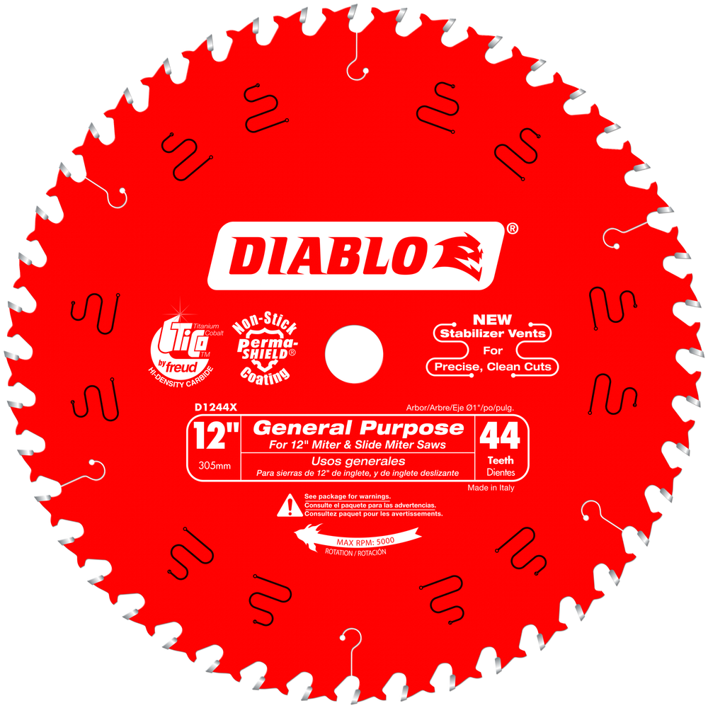 "Diablo D1244X 12"" 44T General Purpose Chop/Slide Miter Saw Blade"