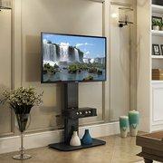 FITUEYES Universal Floor TV Stand base with Swivel Mount AV component Shelf for 40 45 50 55 inch Sony Samsung Lg Vizio Flat Screen TVs TT214001MB