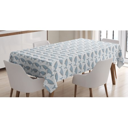 The Giant Cartoon (Whale Tablecloth, Cartoon Whales on Bubbles Background Giant Creatures of the Subaquatic World, Rectangular Table Cover for Dining Room Kitchen, 52 X 70 Inches, White Pale Blue, by)