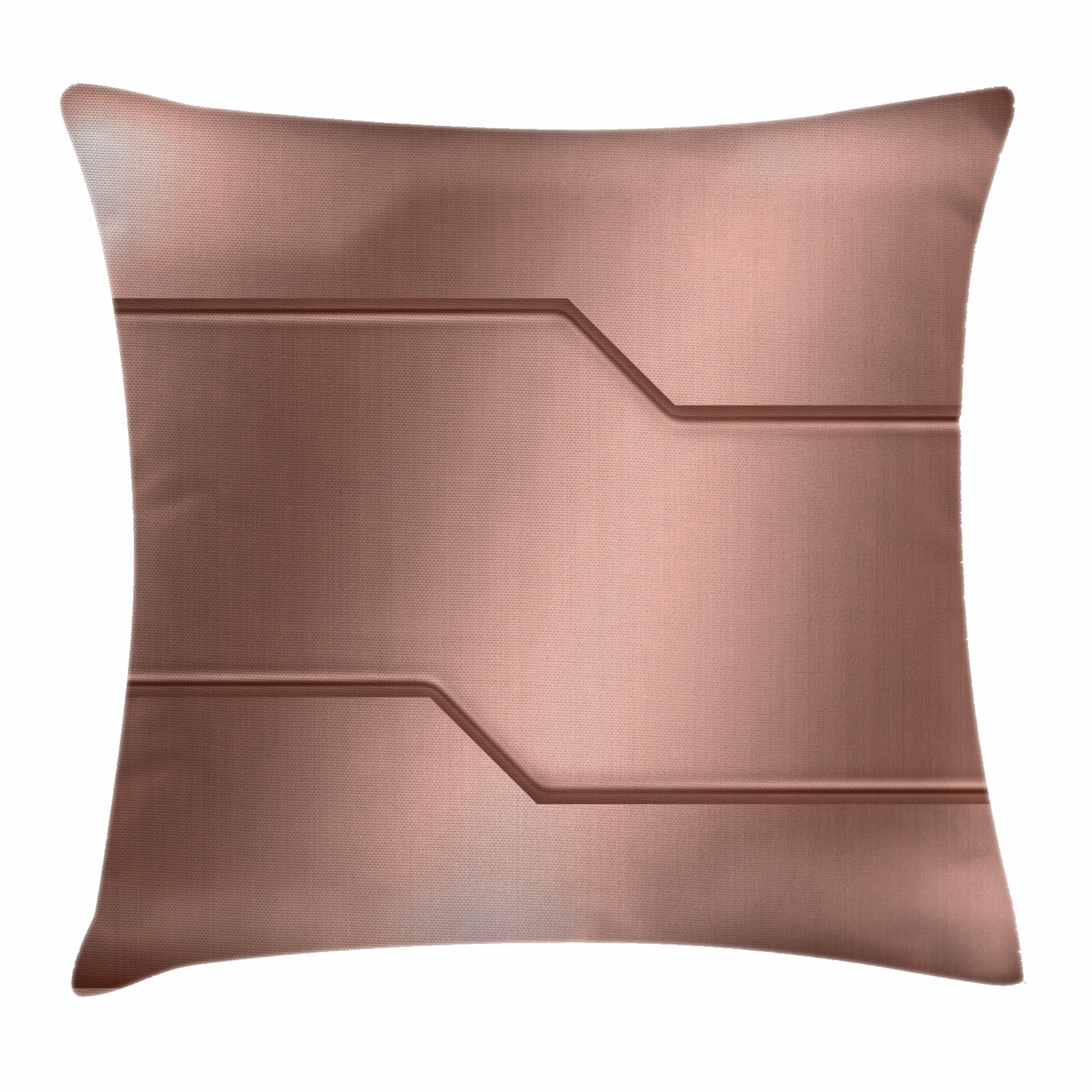 Copper Decor Throw Pillow Cushion Cover, Realistic Metallic Seem Plate Bar Image Technology Industry Steel Surface Print, Decorative Square Accent Pillow Case, 18 X 18 Inches, Rose Gold, by Ambesonne
