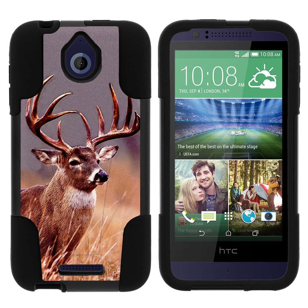 HTC Desire 510 STRIKE IMPACT Dual Layered Shock Resistant Case with Built-In Kickstand by Miniturtle® - Majestic Deer