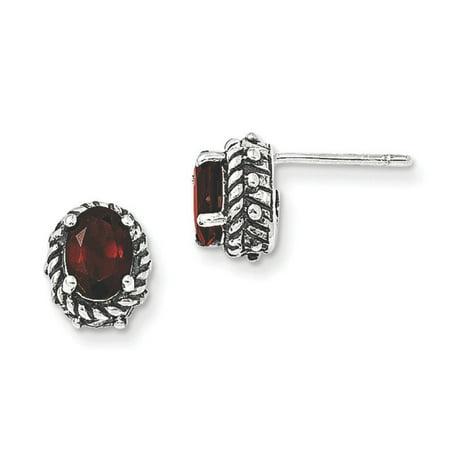 Sterling Silver Garnet Earrings Qtc278