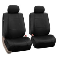 FH Group PU002BLACK102 Black Faux Leather Front Bucket Seat Cover, Set of 2 Airbag Compatible
