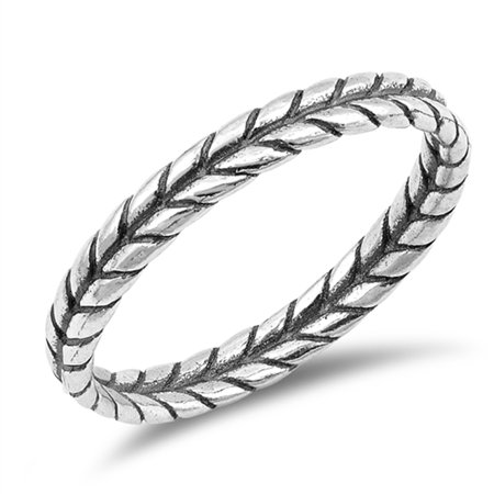 Thin Braid Leaf Rope Thumb Ring New .925 Sterling Silver Band Size 10