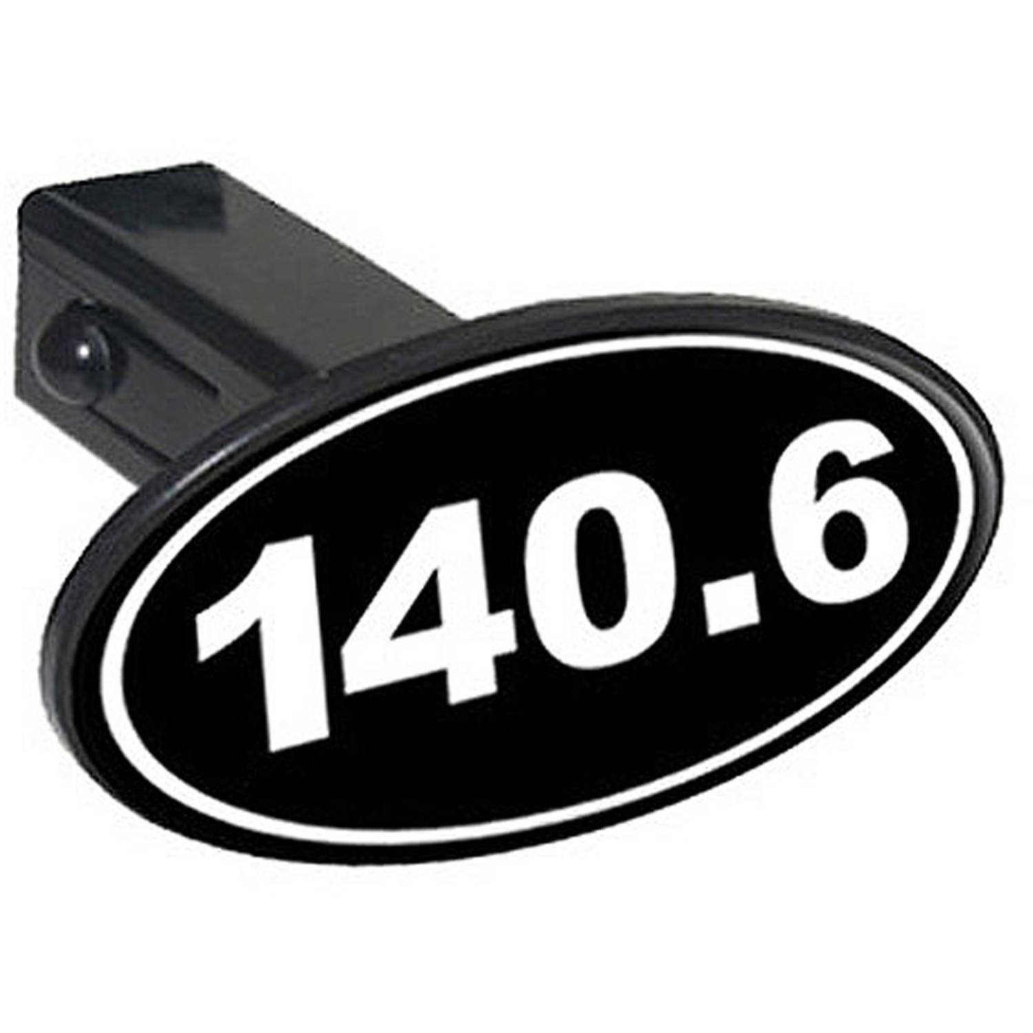 """140.6 Iron Man Euro Oval White On Black 1.25"""" Oval Tow Trailer Hitch Cover Plug Insert by Graphics and More"""