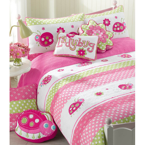 Cozy Line Home Fashion Pink Ladybug Cotton 3 Piece Quilt/Coverlet Set