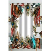 PHFZK Exotic Style Window Curtain, Beautiful Peacock Feather Window Curtain Blackout Curtain For Bedroom living Room Kitchen Room 52x84 inches One Piece