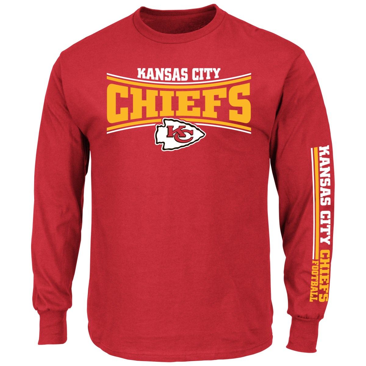 Kansas City Chiefs Majestic NFL Primary Receiver Long Sleeve Men's T-Shirt