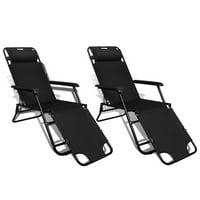 Yosoo Folding Sun Lounger 2 pcs with Footrests Steel Black
