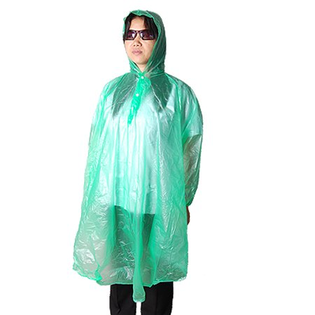 Hooded Green Plastic Rain Coat Poncho For Bicyclers