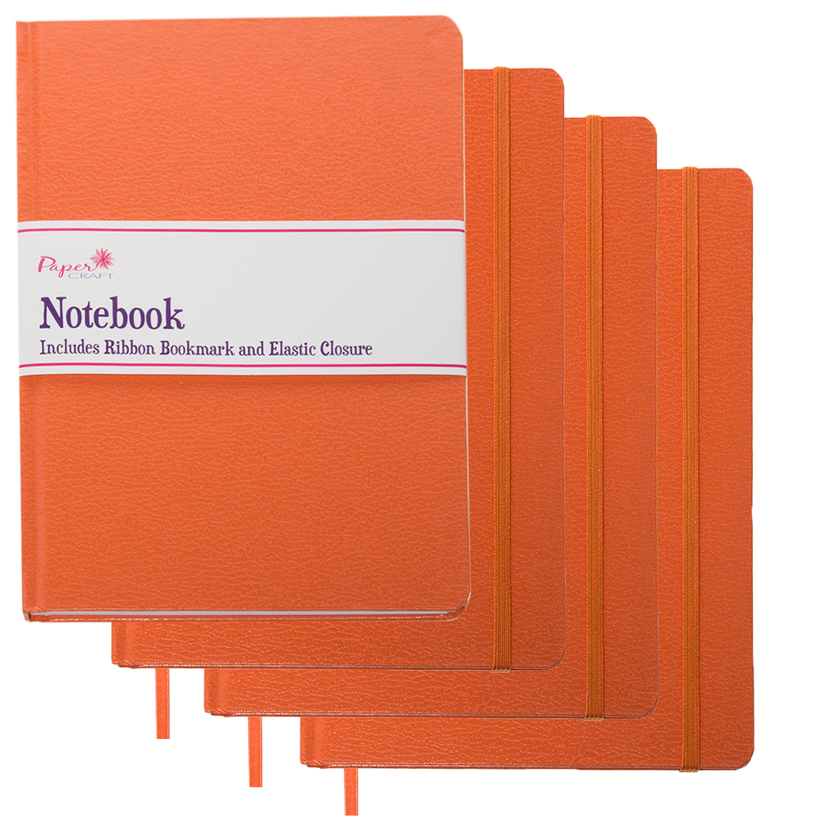 Paper Craft (4 Pack) Journals To Write In Wide Ruled Banded 8.5 x 5.5 Notebook With Ribbon Bookmark