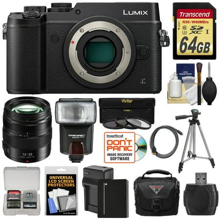 Panasonic Lumix DMC-GX8 4K Wi-Fi Digital Camera Body (Black) with 12-35mm f/2.8 OIS Lens + 64GB Card + Battery + Charger + Case + Flash + Tripod + Kit
