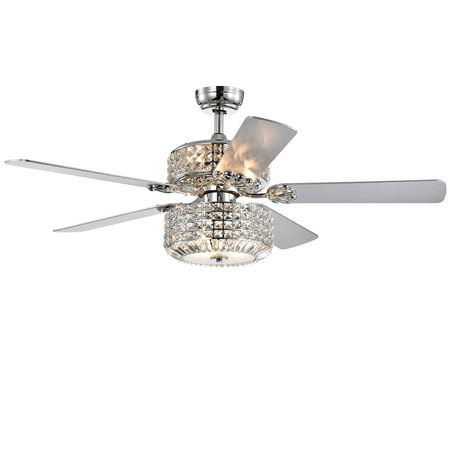 Walter Dual Lamp Chrome 52-inch Lighted Ceiling Fan w Crystal Shades (includes Remote and Light Kit) Steel 52 Ceiling Fan