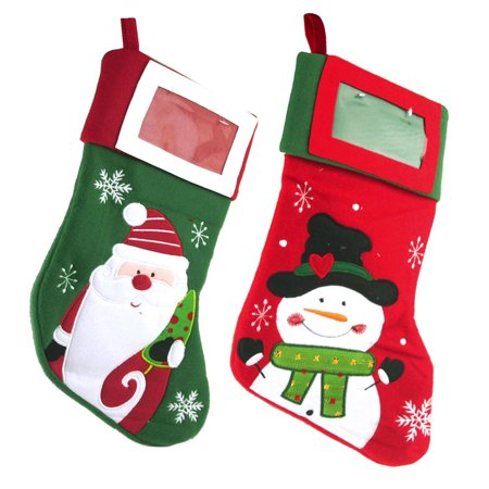 2 Piece Stockings (Hanging Christmas Stocking Santa and Snowman, 16-inch, 2)