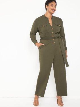 ELOQUII Elements Women's Plus Size Knit Utility Jumpsuit