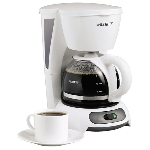 Mr. Coffee TF4GTF 4-Cup Switch Coffeemaker, White with Gold Tone Filter
