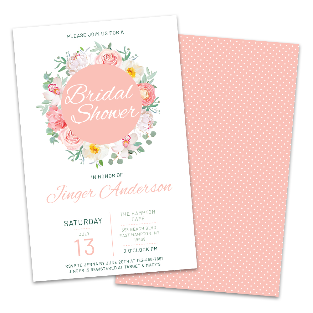 Personalized Spring Florals Bridal Shower Invitations