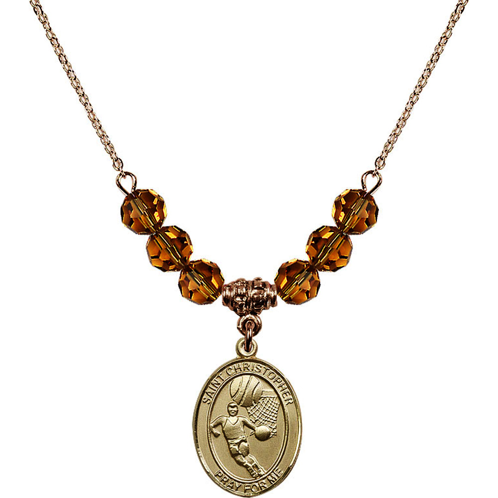 18-Inch Hamilton Gold Plated Necklace with 6mm Yellow November Birth Month Stone Beads and Saint Christopher Basketball... by
