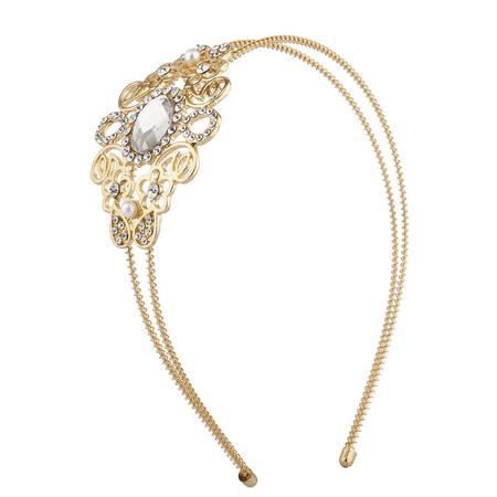 Lux Accessories Gold Tone Crystal Rhinestone Regal Filigree 2 RowCoil Headband