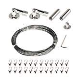 Curtain Wire Rod Set Stainless Steel Multi-Purpose Curtain Drapery Cable Wire Rod Set 1 Pack ()