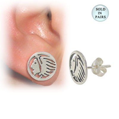 Sterling Silver Native American Design - Ear Stud .925 Sterling Silver with Native American Head Design
