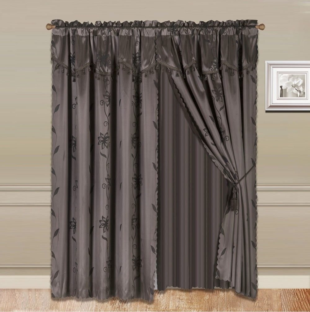 8-Piece BROWN COFFEE Nada Luxury Faux Jacquard Floral Design Panel, Rod Pocket Window Curtain Set Attached Valance, Panel, And Sheer- Includes 2 Tie Backs